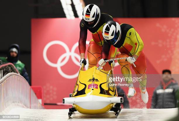 Francesco Friedrich and Thorsten Margis of Germany make their final run during the Men's 2Man Bobsleigh on day 10 of the PyeongChang 2018 Winter...