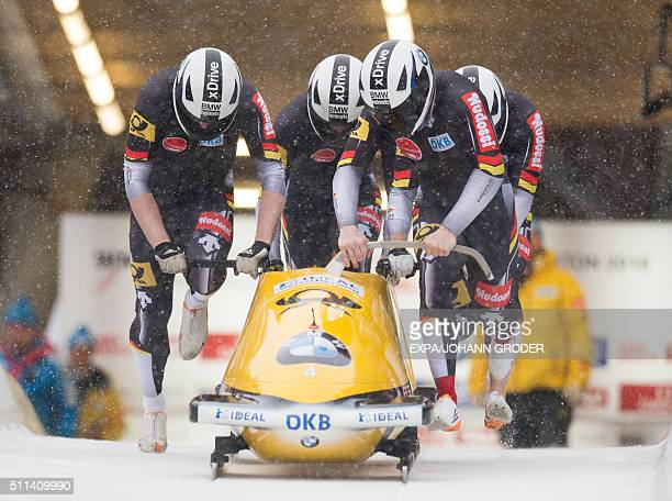 Francesco Friedrich Candy Bauer Gregor Bermbach Thorsten Margis of Germany compete during FourMan Bobsleigh 1st run of 4man Bobsleigh at Bobsleigh...