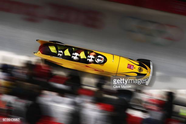 Francesco Friedrich Candy Bauer Martin Grothkopp and Thorsten Margis of Germany compete in their final run during the 4man Boblseigh Heats on day...