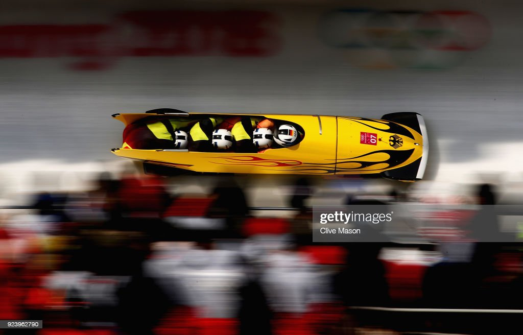 Francesco Friedrich, Candy Bauer, Martin Grothkopp and Thorsten Margis of Germany in action on their way to a gold medal during the 4-man Boblseigh Heat 4 on day sixteen of the PyeongChang 2018 Winter Olympic Games at the Olympic Sliding Centre on February 25, 2018 in Pyeongchang-gun, South Korea.