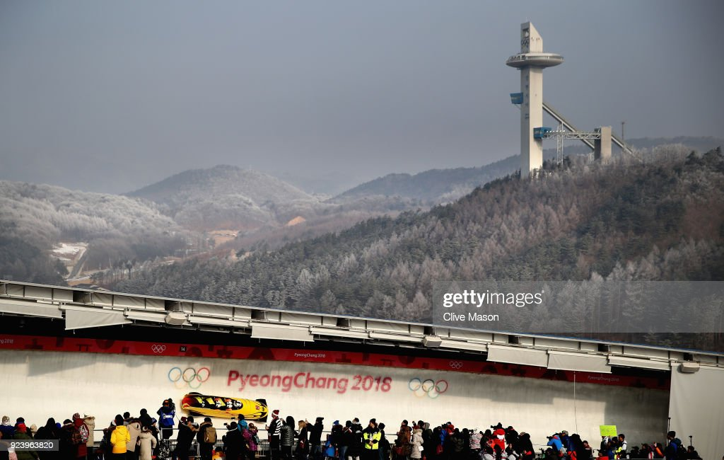 Francesco Friedrich, Candy Bauer, Martin Grothkopp and Thorsten Margis of Germany make a run during the 4-man Boblseigh Heats on day sixteen of the PyeongChang 2018 Winter Olympic Games at the Olympic Sliding Centre on February 25, 2018 in Pyeongchang-gun, South Korea.