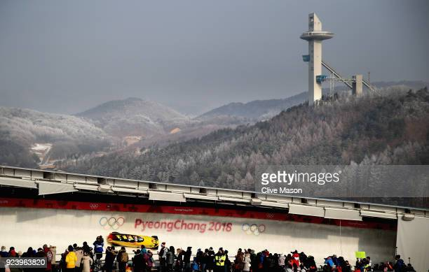 Francesco Friedrich Candy Bauer Martin Grothkopp and Thorsten Margis of Germany make a run during the 4man Boblseigh Heats on day sixteen of the...