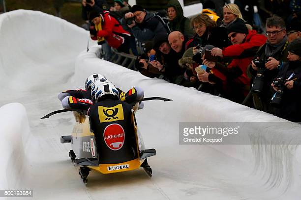 Francesco Friedrich, Jannis Baecker, Martin Putze and Thorsten Margis of Germany compete in their first run of the four men's bob competition during...