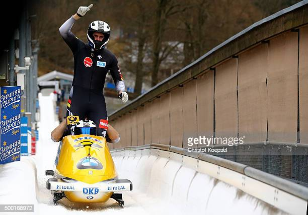 Francesco Friedrich Jannis Baecker Martin Putze and Thorsten Margis of Germany compete in their second run of the four men's bob competition during...