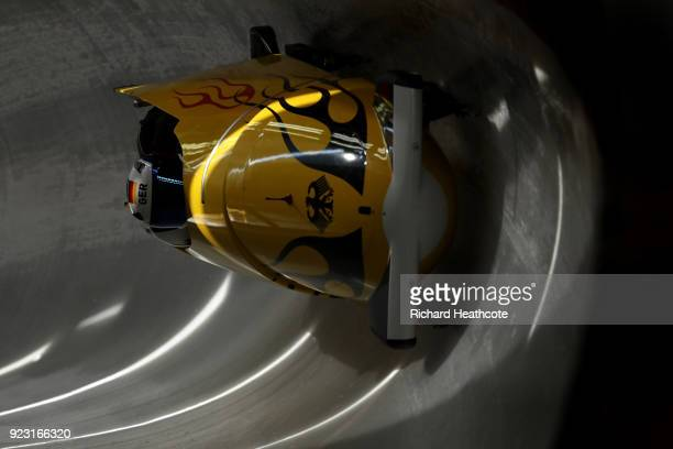 Francesco Friedrich of Germany pilots his sled during 4man Bobsleigh training on day 13 of the Pyeongchang 2018 Winter Olympics on February 22 2018...