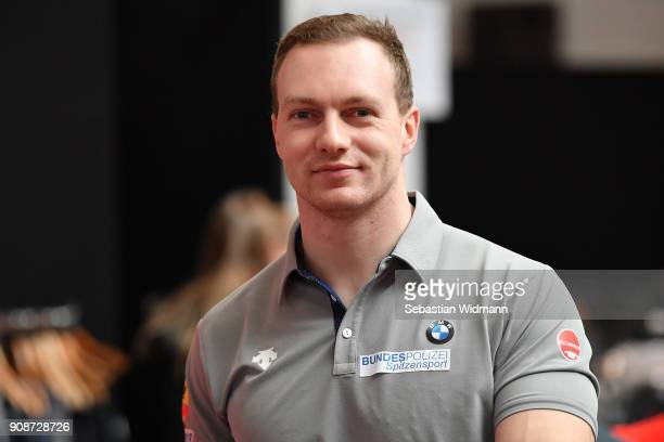 Francesco Friedrich smiles during the 2018 PyeongChang Olympic Games German Team kit handover at Postpalast on January 22 2018 in Munich Germany