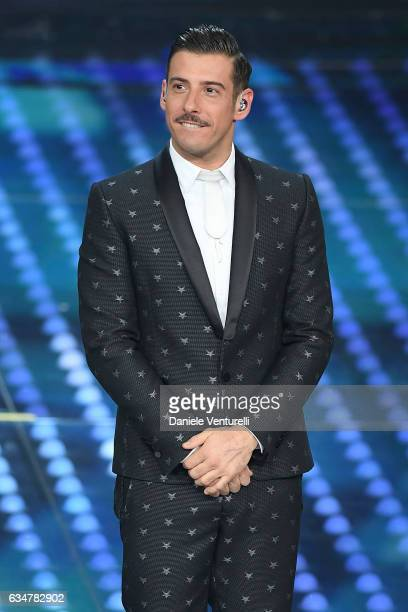 Francesco Gabbani attends the closing night of 67th Sanremo Festival 2017 at Teatro Ariston on February 11 2017 in Sanremo Italy