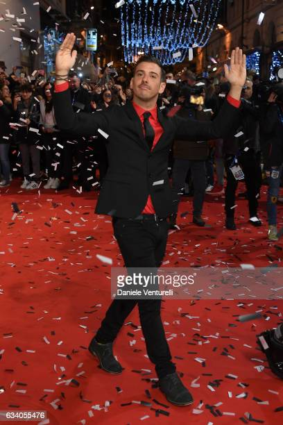 Francesco Gabbani walks a red carpet for the 67 Sanremo Festival at Teatro Ariston on February 6 2017 in Sanremo Italy