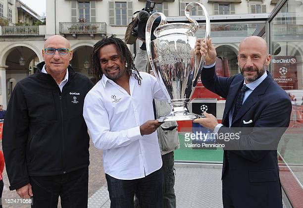 Francesco Graziani Christian Karembeu and Gianluca Vialli pose with the UEFA Champions League trophy during the UEFA Champions League Trophy Tour...