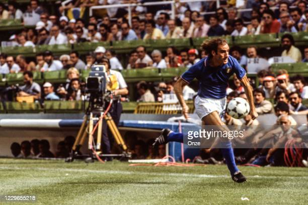 Francesco Graziani of Italy during the second stage of the 1982 FIFA World Cup match between Italy and Brazil, at Sarria Stadium, Barcelona, Spain on...