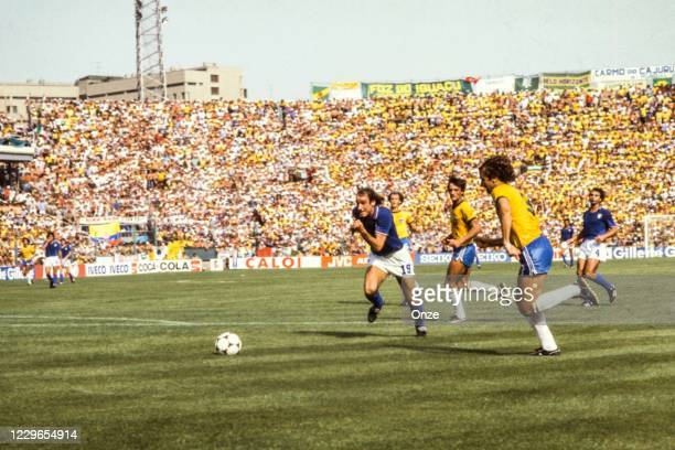 Francesco Graziani of Italy, illustration general view during the second stage of the 1982 FIFA World Cup match between Italy and Brazil, at Sarria...