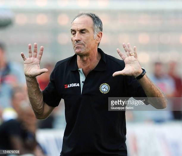 Francesco Guidolin head coach of Udinese during the Serie A match between US Lecce and Udinese Calcio at Stadio Via del Mare on September 11 2011 in...