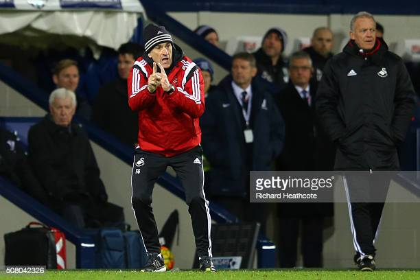 Francesco Guidolin Manager of Swansea City gestures during the Barclays Premier League match between West Bromwich Albion and Swansea City at The...