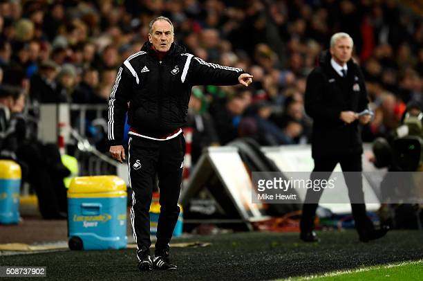 Francesco Guidolin Manager of Swansea City gestures during the Barclays Premier League match between Swansea City and Crystal Palace at the Liberty...