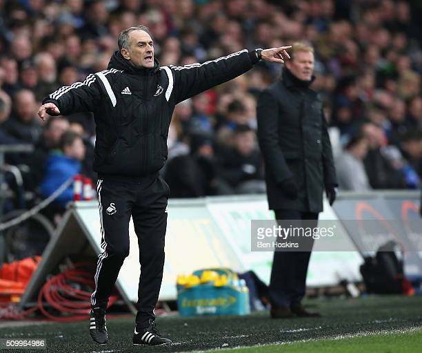 Francesco Guidolin Manager of Swansea City gestures during the Barclays Premier League match between Swansea City and Southampton at Liberty Stadium...
