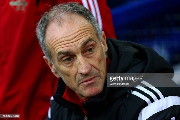 Francesco Guidolin Manager of Swansea City looks on before the Barclays Premier League match between Everton and Swansea City at Goodison Park on...