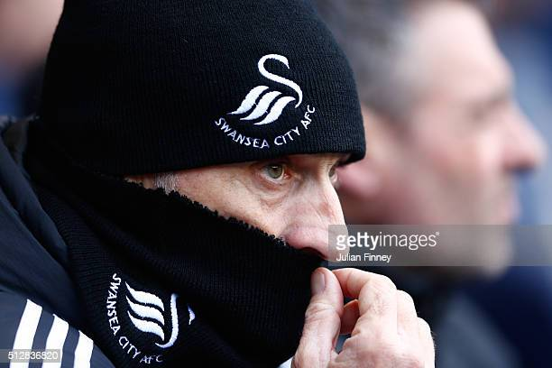 Francesco Guidolin manager of Swansea City looks on during the Barclays Premier League match between Tottenham Hotspur and Swansea City at White Hart...