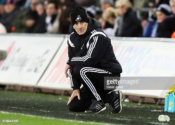 Francesco Guidolin Manager of Swansea City looks on during the Barclays Premier League match between Swansea City and Aston Villa at Liberty Stadium...