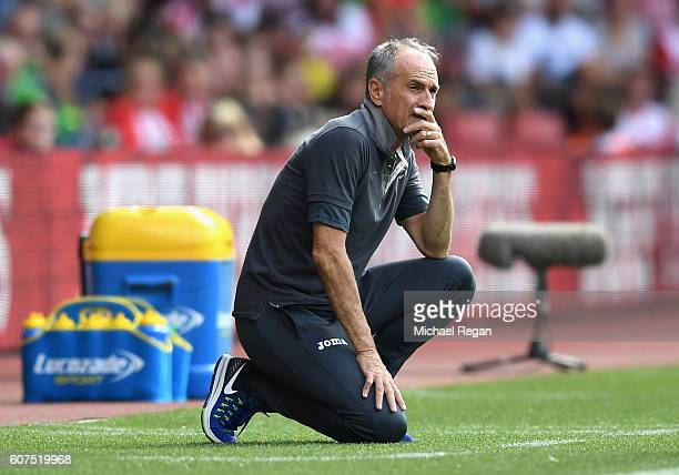 Francesco Guidolin Manager of Swansea City looks on during the Premier League match between Southampton and Swansea City at St Mary's Stadium on...