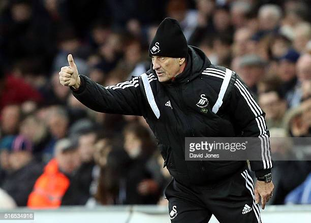 Francesco Guidolin Manager of Swansea City thumbs up during the Barclays Premier League match between Swansea City and Aston Villa at Liberty Stadium...