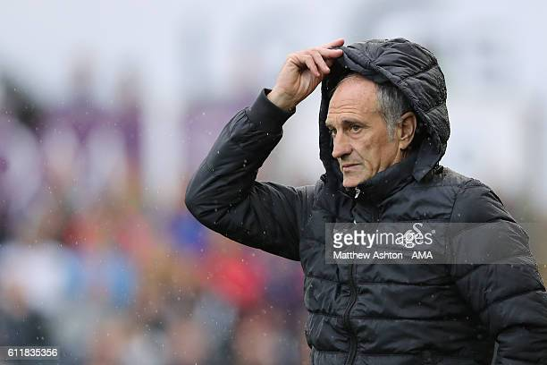 Francesco Guidolin the head coach / manager of Swansea City during the Premier League match between Swansea City and Liverpool at Liberty Stadium on...
