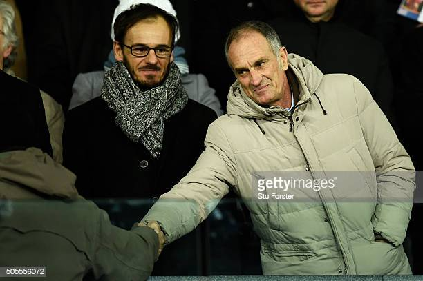 Francesco Guidolin the new manager of Swansea City shakes hands with a fan before the Barclays Premier League match between Swansea City and Watford...
