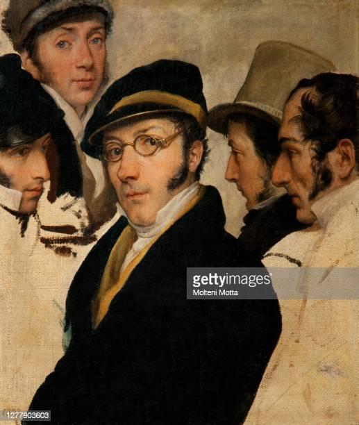 Francesco Hayez. 1791-1882. Self-portrait in a group of friends. 1827. Oil painting on canvas cm 42.8 x 32.5.