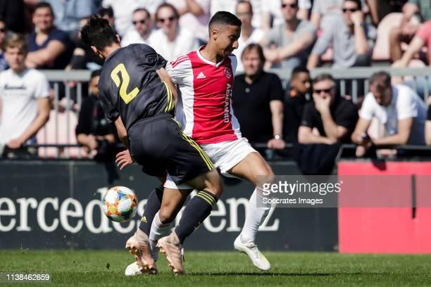Francesco Lamanna of Juventus U17l Anass Salah Eddine of Ajax U17 during the match between Ajax U17 v Juventus U17 at the De Toekomst on April 20...
