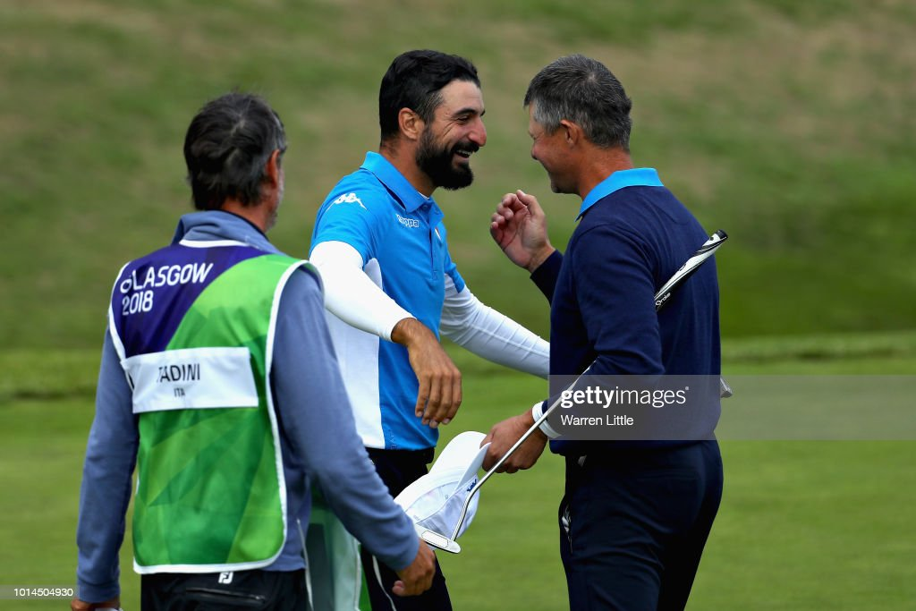 Francesco Laporta and Alessandro Tadini of Italy celebrate winning their match on hole eighteen during match 6 of Group B during day three of the European Golf Team Championships at Gleneagles on August 10, 2018 in Auchterarder, Scotland. This event forms part of the first multi-sport European Championships.