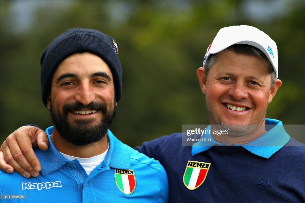 Francesco Laporta and Alessandro Tadini of Italy pose for a photo after winning match 6 of Group B during day three of the European Golf Team Championships at Gleneagles on August 10, 2018 in Auchterarder, Scotland. This event forms part of the first multi-sport European Championships.