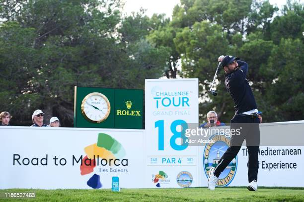 Francesco Laporta of Italy of Spain tees off from the eighteenth during day 3 of the Challenge Tour Grand Final at Club de Golf Alcanada on November...