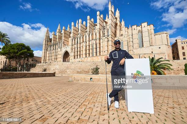 Francesco Laporta of Italy poses for a picture in front of the Palma de Mallorca Cathedral prior to the Challenge Tour Grand Final at Club de Golf...