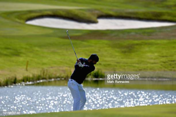 Francesco Laporta of Italy takes his second shot on hole sixteen during match 3 of Group B during day two of the European Golf Team Championships at...