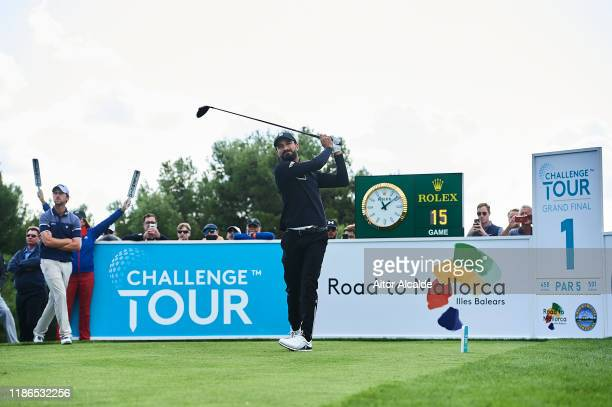 Francesco Laporta of Italy tees off from the 1st tee during day 3 of the Challenge Tour Grand Final at Club de Golf Alcanada on November 09 2019 in...