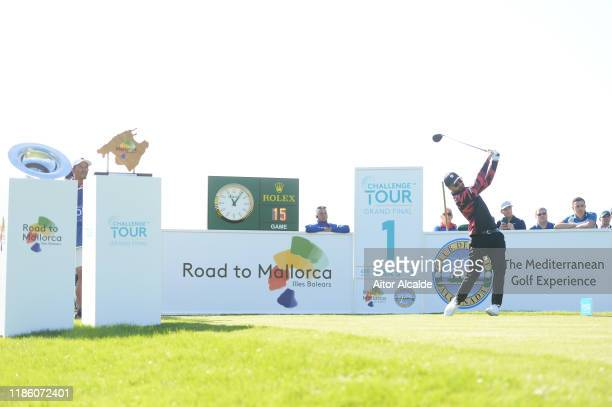 Francesco Laporta of Italy tees off on the first during day 1 of the Challenge Tour Grand Final at Club de Golf Alcanada on November 07 2019 in...
