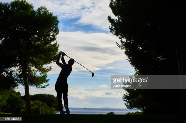 Francesco Laporta of Italy tees off on the sixteenth during day 1 of the Challenge Tour Grand Final at Club de Golf Alcanada on November 07 2019 in...