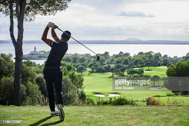 Francesco Laporta of Italy tees off on the thirteenth during day 1 of the Challenge Tour Grand Final at Club de Golf Alcanada on November 07 2019 in...