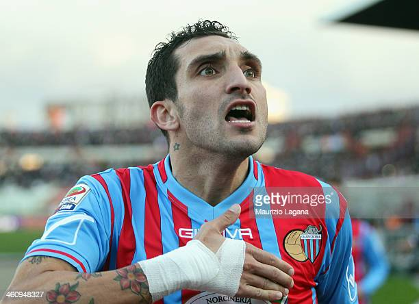 Francesco Lodi of Catania celebrates after scoring his team's second goal during the Serie A match between Calcio Catania and Bologna FC at Stadio...