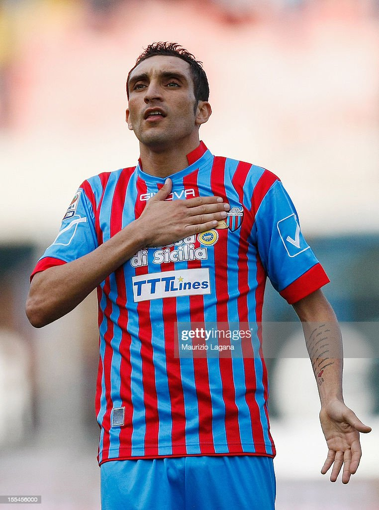Francesco Lodi of Catania celebrates after scoring the second goal during the Serie A match between Calcio Catania and S.S. Lazio at Stadio Angelo Massimino on November 4, 2012 in Catania, Italy.