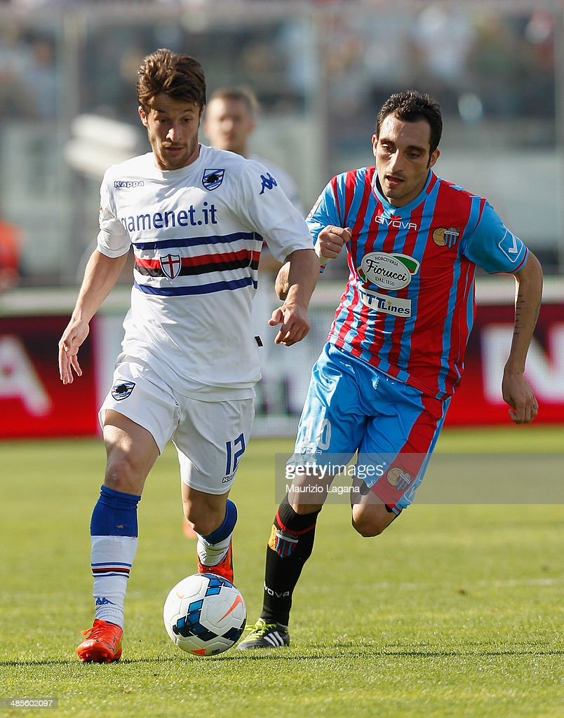 Francesco Lodi (R) of Catania competes for the ball with Gianluca Sansone of Sampdoria during the Serie A match between Calcio Catania and UC Sampdoria at Stadio Angelo Massimino on April 19, 2014 in Catania, Italy.