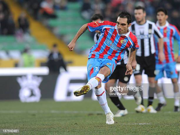 Francesco Lodi of Catania shoots from the penalty spot to score during the Serie A match between Udinese Calcio and Catania Calcio at Stadio Friuli...