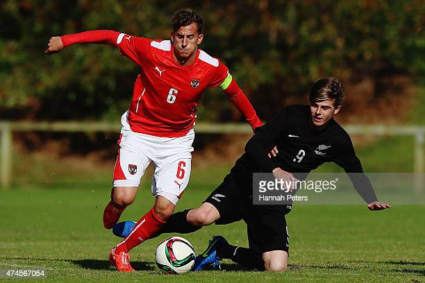 Francesco Lovric of Austria competes with Alex Rufer of New Zealand during the U20 warm up match between New Zealand and Austria on May 24 2015 in...