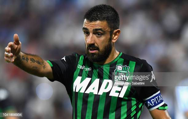 Francesco Magnanelli of Sassuolo gestures during the serie A match between SPAL and US Sassuolo at Stadio Paolo Mazza on September 27 2018 in Ferrara...