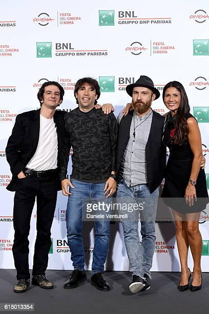 Francesco Mandelli, Herbert Ballerina, Maccio Capatonda and Barbara Tabita attend a photocall for 'Mariottide' during the 11th Rome Film Festival at...