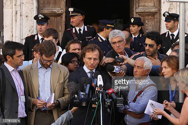 Francesco Maresca the lawyer representing Meredith Kercher's family reads a statement outside Perugia's Court of Appeal prior to the verdict in the...