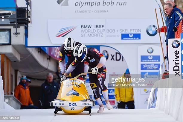 Francesco Margis Thorsten in action during the start BMW IBSF World Cup Bob 2 man 2015/2016 St Moritz Swiss