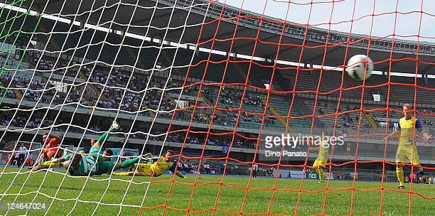 Francesco Marianini of Novara Calcio scores his team's first goal during the Serie A match between AC Chievo Verona and Novara Calcio at Stadio...