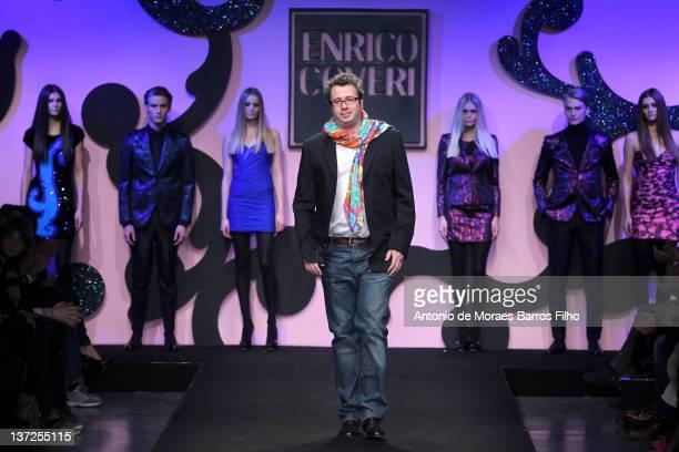 Francesco Martini Coveri walks the runway during the Enrico Coveri fashion show as part of Milan Fashion Week Menswear Autumn/Winter 2012 on January...