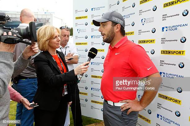 Francesco Molinari gives media interviews to BBC Sport Hazel Irvine after he finishes in joint first place at 14 under par day three of the BMW PGA...