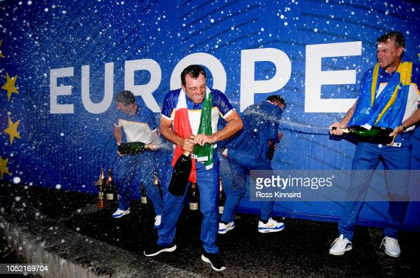 Francesco Molinari of Europe celebrates after winning The Ryder Cup during singles matches of the 2018 Ryder Cup at Le Golf National on September 30,...